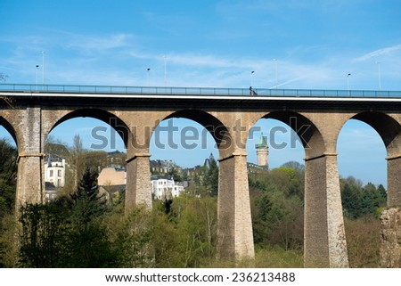 The Passerelle (or Luxembourg Viaduct) in Luxemburg. - stock photo