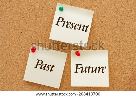 The past, present and the future, Three yellow sticky notes on a cork board with the words Past, Present and Future - stock photo