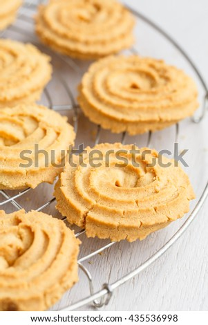 The Paste di meliga, (sweet corn biscuits), from Piedmont, Italy - stock photo