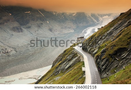The Pasterze, the longest glacier of Austria at the Grossglockner - stock photo