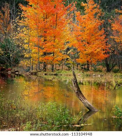 The Pastoral Beauty Of Caesar Creek In Autumn, Southwestern Ohio, USA - stock photo
