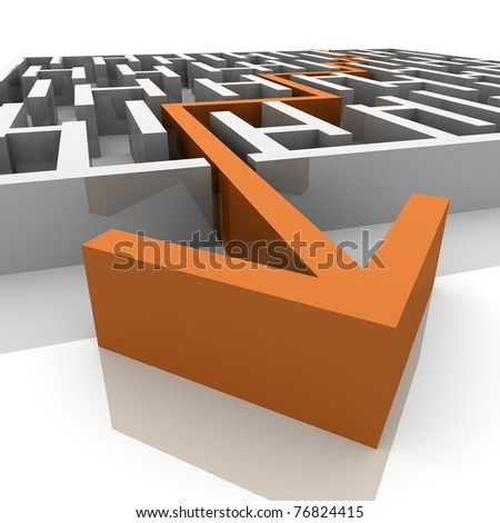 the path runs along the maze - stock photo