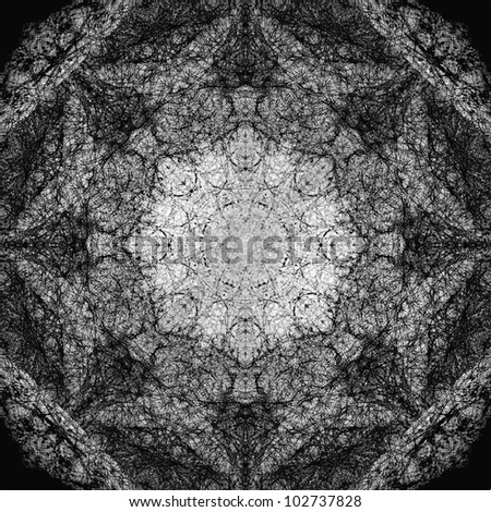 The pattern created from a photo of a spider's web. Abstracts. Symmetrical pattern to the background or poster. - stock photo