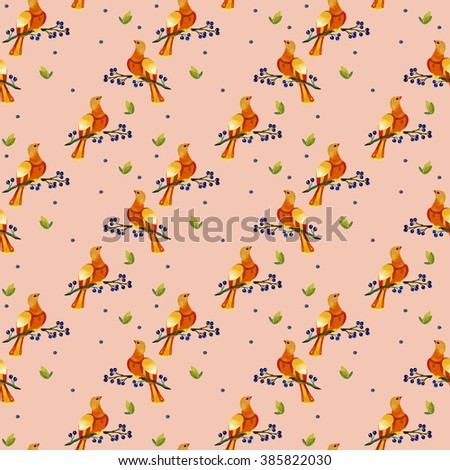 The pattern of orange birds on a branch on a peach background - stock photo