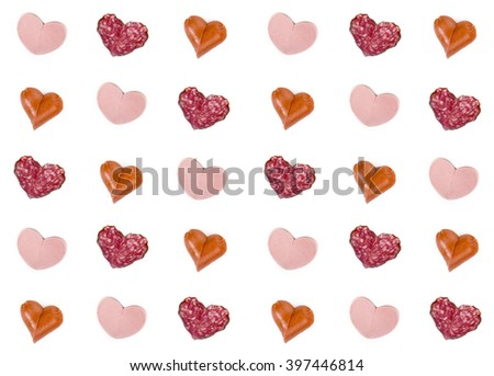 The pattern of several kinds of sausages. Background - stock photo
