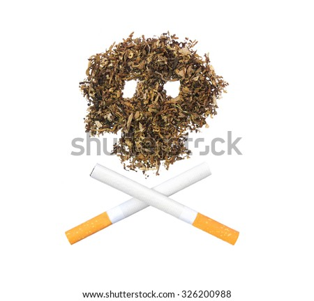 The pattern of the skull of tobacco leaves with two crossed cigarettes - stock photo