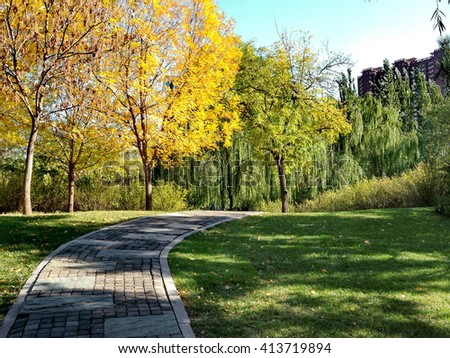the paving in the garden in fall - stock photo