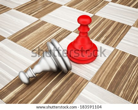 The pawn chess piece on a chess board - stock photo
