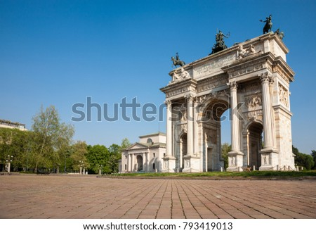 The Peace Arch, a triumphal arch erected in Milano in 1838 and a major landmark of the city, Milan, Italy