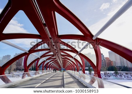 The Peace Bridge, Calgary, Alberta, Canada - 18 Jan 2018: Capture of the architecture design of the Peace Bridge in Calgary.