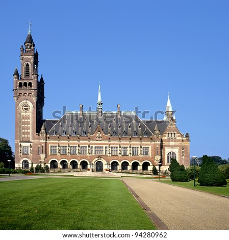 The Peace Palace in The Hague( Holland) is home to a number of international judicial institutions, including the International Court of Justice (ICJ) , the Permanent Court of Arbitration (PCA) - stock photo