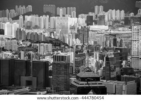 The Peak, Hong Kong - Jan 30, 2016: Aerial view of Hong Kong City from The Peak at Jan 30, 2016