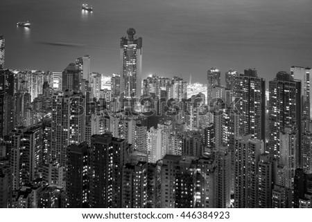 The Peak, Hong Kong : March 17, 2015 : The misty night of Hong Kong City, view from The Peak.