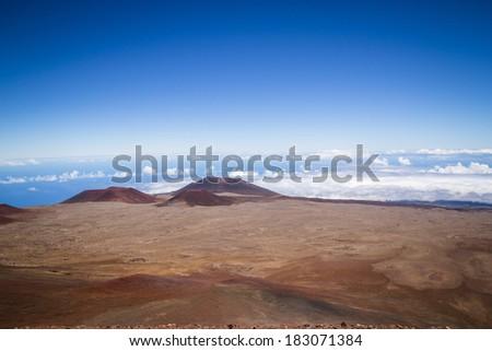 the peak of Mauna Kea volcano, Hawaii - stock photo