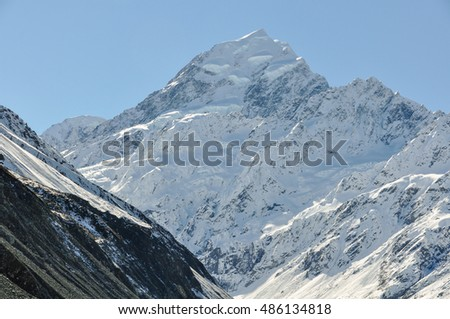 The peak of mount cook in the Aoraki/Mount Cook National Park, New Zealand