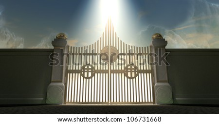 The pearly gates of heaven with the bright side of heaven contrasting with the duller foreground and an ethereal spotlight - stock photo
