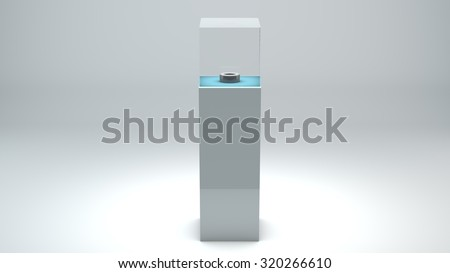 The pedestal for the ball on a gray background - stock photo