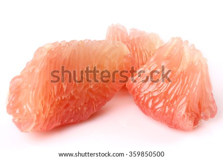 The peeled grapefruit isolated white