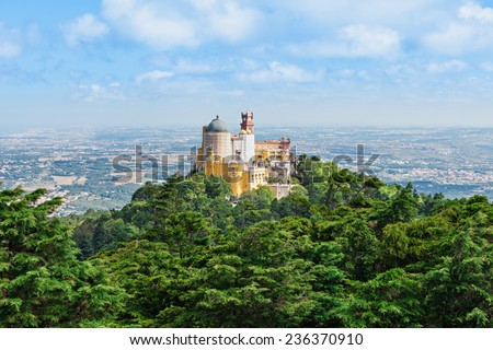 The Pena National Palace is a Romanticist palace in Sao Pedro de Penaferrim, Sintra, Portugal - stock photo