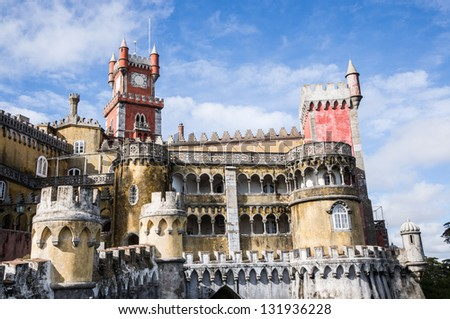The Pena National Palace is the oldest palace inspired by European Romanticism. It is located in the civil parish of Sao Pedro de Penaferrim, municipality of Sintra, Portugal. - stock photo