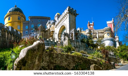 The Pena National Palace is the oldest palace inspired by European Romanticism. It is located in the civil parish of Sao Pedro de Penaferrim, municipality of Sintra, Portugal - stock photo
