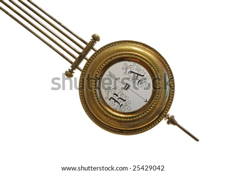 the pendulum (detail) of age-old mechanical clock isolated on a white background - stock photo