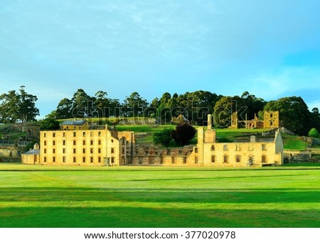 The Penitentiary at Port Arthur HIstorical Site, the most recognizable symbol of over 30 buildings, ruins and restored period homes set in 40 hectares of landscaped grounds  - stock photo