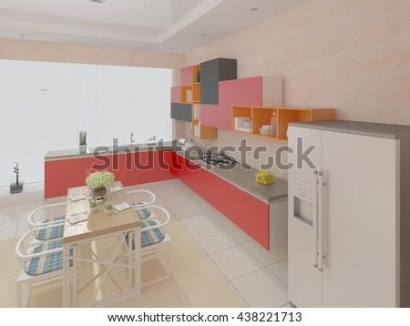 The perfect design of the kitchen in a modern style 3d rendering.