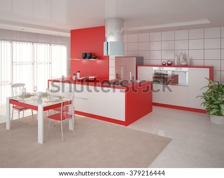The perfect design of the modern kitchen, 3d rendering.  - stock photo