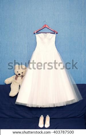 Perfect Luxury Wedding Dress On Hanger Stock Photo (Royalty Free ...