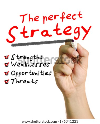 The perfect strategy plan written on a black background ilustrating a checklist of swot analysis business management.