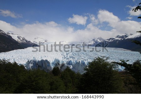 The Perito Moreno Glacier Calving into Lake (Lago) Argentino, Los Glaciares National Park, El Calafate, Patagonia, Argentina. - stock photo