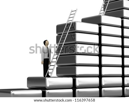 The person before a ladder of the career growth - stock photo