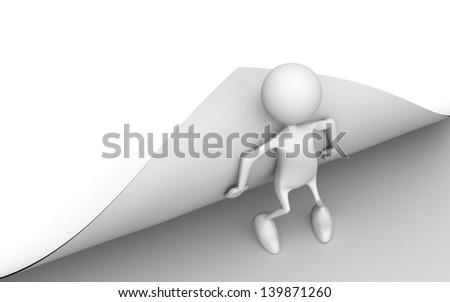 The person bends a sheet of paper - stock photo
