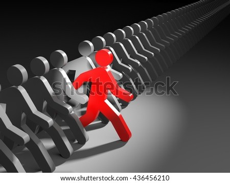 The person leads the competition. 3d illustration - stock photo
