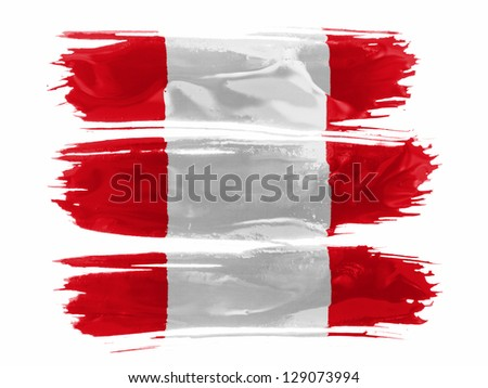 The Peru flag painted with three strokes of paint in white - stock photo