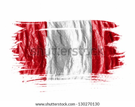 The Peru flag painted with watercolor on wet white paper - stock photo