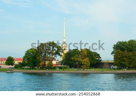 The Peter and Paul Cathedral. Saint Petersburg, Russia. The world's tallest Orthodox bell tower. - stock photo