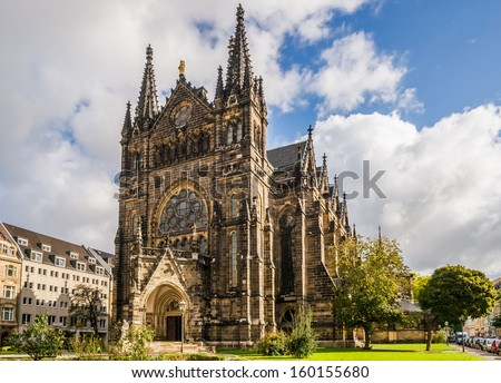 The Peterskirche in Leipzig near the city center is often used for several cultural events of different color. - stock photo
