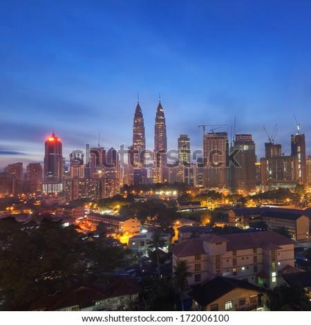 The Petronas Twin Towers at Dusk - stock photo