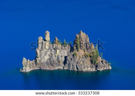 the Phantom ship on the blue,some scenic view in Crater Lake national park,Oregon,USA. - stock photo
