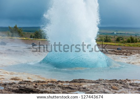The phase of the eruption of the geyser - Iceland