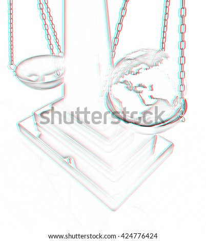 The philosophical concept: Earth lighter than vanity on a white background. Pencil drawing. 3D illustration. Anaglyph. View with red/cyan glasses to see in 3D.