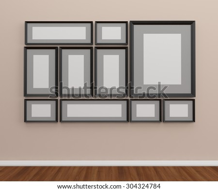 The Photo frames on the wall - stock photo
