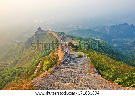 The photo taken  in China's Hebei province qinhuangdao city.Mount Jiaoshan scenic area is located 3 kilometers north of shanhaiguan .The time is October 5, 2013.The Great Wall.