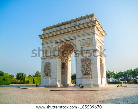 The photo was taken in Window of the world ,Shenzhen city, china.The time was  13 April, 2011.Artificial miniature landscape. Arch of Triumph of Paris. - stock photo