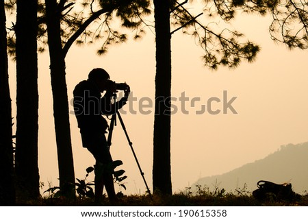 The photographer silhouette in the wood - stock photo