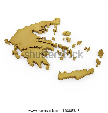 The photorealistic golden shape of Greece isolated on white (series) . The rendering even has tiny scratches - stock photo