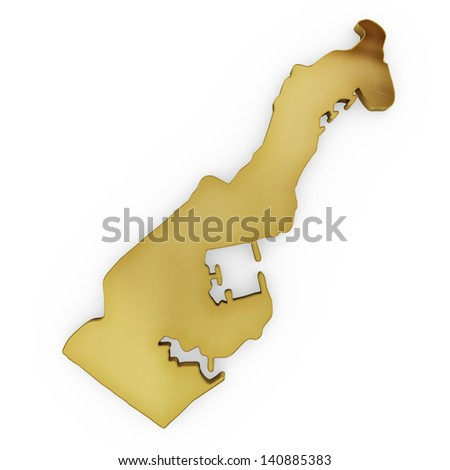 The photorealistic golden shape of Monaco isolated on white (series) . The rendering even has tiny scratches