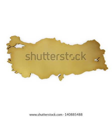 The photorealistic golden shape of Turkey isolated on white (series) . The rendering even has tiny scratches - stock photo